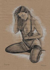 original drawing A3 870DO art samovar modern pastel female nude Signed 2021