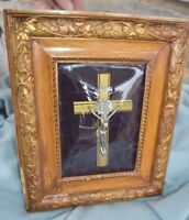 Antique Artistic Crucifix on Velvet under Convex Glass Wood Frame Wall Plaque