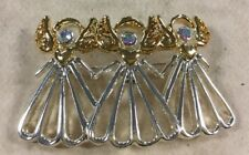Amazing Vintage Estate Iridescent Stone Triple Angel Pin QQ22