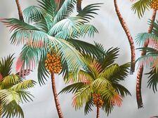 Tropical Hawaiian 100% Cotton Barkcloth Fabric SHOWER CURTAIN ~Palm Trees-Gray~