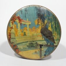 Vintage French Candy Tin Box, Chateau Garden, Falcon and Dragons