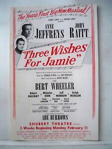 THREE WISHES FOR JAMIE Herald JOHN RAITT / ANNE JEFFREYS Tryout BOSTON 1952