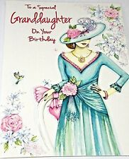 Granddaughter Birthday Card by Heartstrings Cards. Blue/Green Dress Theme.