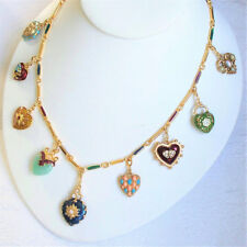 Vintage Joan Rivers 9 Charm Hearts & Flowers Necklace