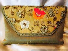 Bronze Gold Beige Orange Handbag Clutch Wallet Bollywood Indian Dress Purse Silk