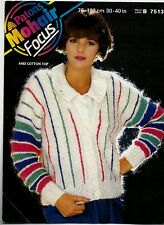Patons Mohair KNITTING PATTERN, Women Striped Cardigan