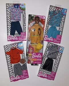 Ken's Careers Lot of 5 - AA Firefighter,  Coach, Chef, Golfer, Doctor Scrubs NEW