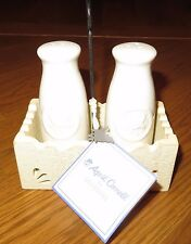 New April Cornell for Silvestri Salt & Pepper Shakers Bird Milk Bottles in Caddy