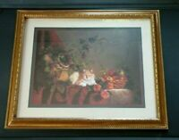 Home Interiors Rose's Grapes Fruit Fancy Gold Frame Cat Picture