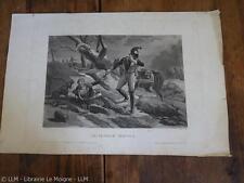 1820.Pénible service.chien.gravure aquatinte.29/43cm.Napoléon.Charon.Martinet