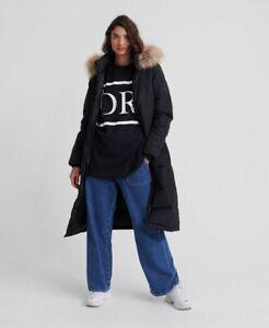 Superdry Womens Longline Quilted Everest Black Jacket Hooded Coat