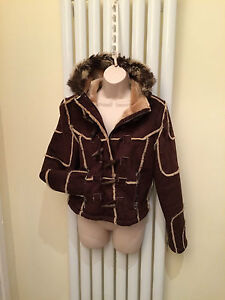 COTTON CLUB Womens Ladies Brown Suede Hooded Jacket Coat  Size 12