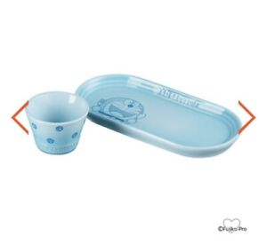 【Japan Le Creuset x Doraemon 】 BLUE Oval Plate and small bowl set Brand NEW