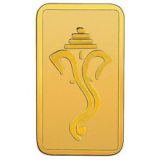 RSBL eCoins Ganeshji 1 gm Gold Bar 24 kt purity 999 Fineness-WITH TAX INVOICE