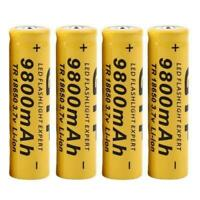 4pcs Battery 3.7v 9800mah Rechargeable Liion Battery For Led Flashlight Torch