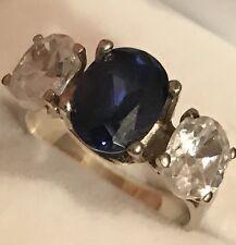 100% 14K White Gold 3 Stone Real Blue Sapphire & White Topaz  Accent Ring