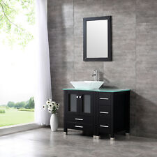 "36"" Ceramic Sink Bathroom Vanity Cabinet Wooden Modern Design Black New"