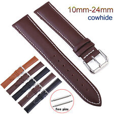 10-24mm Stitching Genuine Leather Band Watch Strap Wristband Belt w Metal Buckle