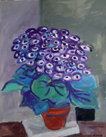 Robert Savary - Painting Original Signed - the Purple Bouquet
