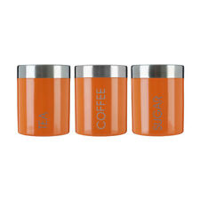 Premier Set of 3 Orange Enamel Tea Coffee Storage Canisters Kitchen Storage