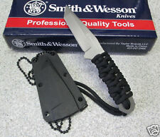 Smith & Wesson Neck Knife Halsmesser Agentenmesser7CR17MoV mit Kordel Euti 42845