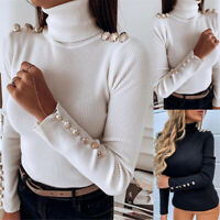 Women's Basic Stretch Knit Long Sleeve Soft Turtle Neck Top Pullover Sweater
