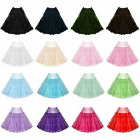 """Womens Ladies New 22"""" Hell Bunny Flared Party Prom Vintage 50s Jive Petticoat"""