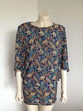 Zen Garden Blue Paisley Blouson Mini Dress Size 8