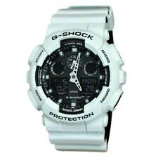Casio GA100L-7A Men's G-Shock Black Ana-Digi Dial White Resin Watch