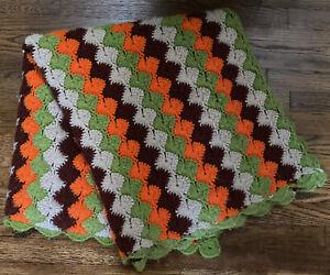 "Handmade Crochet CATHERINE WHEEL STITCH Afghan FALL Twin Blanket Throw 82"" x 42"""