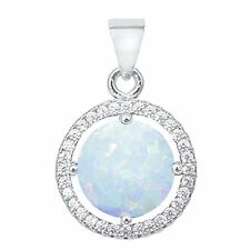 Halo Wedding Pendant Round Created Opal CZ 925 Sterling Silver Choose Color