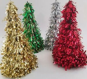 """Decorated Tinsel Cone Christmas Trees Table Top 10"""" 1/Pk, Select: Type"""