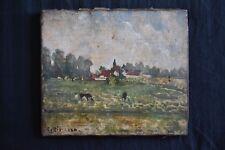 """Camille PISSARRO (1830-1903) """"Prairies à Gisors"""" huile sur toile signée (c.1884)"""