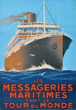 Repro Affiche Cie des Messageries Maritimes - Tour du Monde