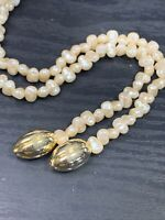 Women's Vintage White imitation pearl knotted tassel beaded Necklace 50""