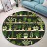 Potted Plants Shelf Cactus Pattern Round Floor Mat Bedroom Living Room Area Rugs