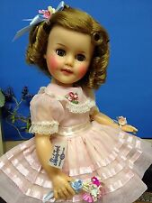 "*Tagged Original 15"" Ideal Shirley Temple Doll In Pretty Pink Nylon Party Dress*"