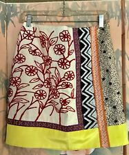 Anthropologie Leifnotes Brimming Borders Beaded Embroidered Skirt Sz 6