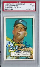 PSA 7 - 1983 Topps Reprint 1952 Mickey Mantle PSA/DNA Certified Autograph