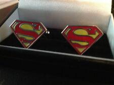 SUPER MAN BLACK CUFF LINKS SILVER IN BOX COLLECTABLE BNIB SUPER HERO