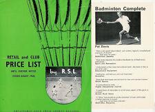 RSL badminton shuttlecock liste de prix août 1968 & Pat Davis livre notice