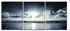 Black White Sea Sunset Sky Canvas Art Landscape Picture Prints Wall Home Decor