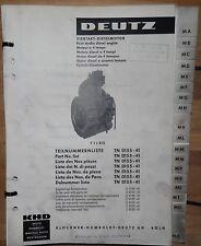 Deutz Viertakt Dieselmotor F 1 L 812 Teilnummernliste