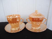 vintage retro fire king peach lustre sugar bowl and milk jug with saucers