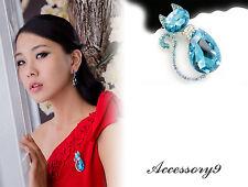 turquoise blue Austrian crystal cat rhinestone silver kitty Brooch scarf pin D31