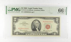 1963 $2 FR1513 (AA Block) Red Seal Graded PMG - 66 EPQ Legal Tender *812