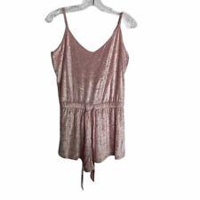 Victoria's Secret Pink Velvet Romper Sleeveless Drawstring Waist Womens Large L