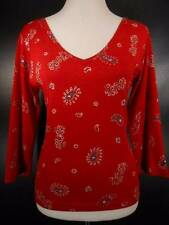 Beautiful Women's Small Take Two Red Sequin Paisley Design 3/4 Sleeve Knit Top