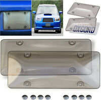 2x Tinted Clear Smoke Color License Plate Tag Frame Cover Shield For Car Truck