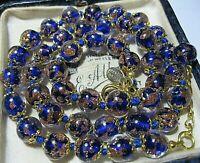 "Cobalt Blue Venetian Murano Glass Gold Foil Bead Vintage Style 18"" Long NECKLACE"